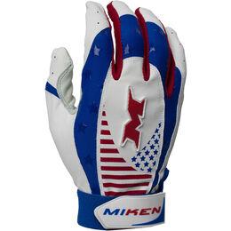 Pro Adult Red-White-Blue Batting Gloves